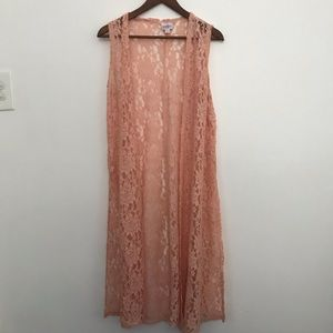 LuLaRoe Sleeveless embroidered duster pink